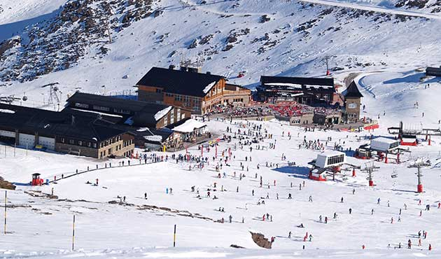Sun and snow Sierra Nevada ski resort Spain