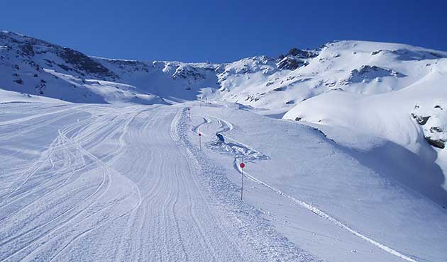 Snow and blue sky at Sierra Nevada ski resort Spain